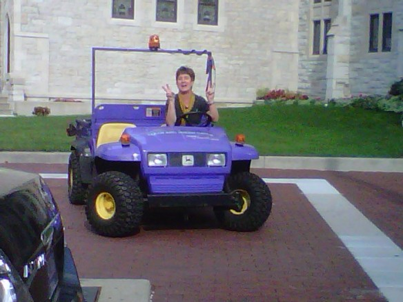 Who's that in the purple dunebuggy?